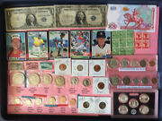 Junk Drawer Lot,silvercoins, Mixed Coins And Stamps,baseballcards.foreign Note