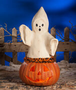 Bethany Lowe Halloween Ghost Coming Out Of Pumpkin Tj7746
