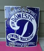 Antique New Domestic Porcelain Sign - Convex Sign Sewing Machine Advertisement