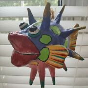 Vintage Colorful Paper Mache Blowfish Puffer Fish, Made In Hawaii