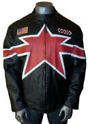 Vintage Max Usa Leather Moto Racing Club Patches Quilted Lined Men's 3xl Jacket