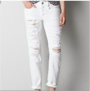 American Eagle Womens White Tomgirl Distressed Jeans Size 6 X-long