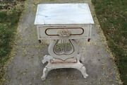Antique Victorian Style Lyre Shape Night Table Stand With Drawer Wood Rose Handl