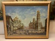 Early 19th Century Cityscape Of An Old City Square Framed Tapestry