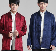 Mens Silk Coats Tang Suit Double Sided Button Slim Chinese Shower Vintage Style