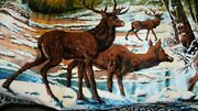 Large Vintage Wall Hanging Rug Tapestry Buck Deer 49x70 Made In Italy