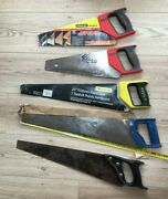Selection Of 5 Old Hand Saws- 2 X 14 Stanley 2 X 20 Plus 1 X Sandvik 22