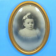 Antique Oval Convex Bubble Glass Picture Frame Baby Girl Photo 1912 Provenance