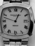 Christian Bernard Stainless Steel White Square Face Memory Watch 28 X 28mm