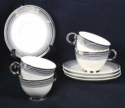 5 Vintage Taylor Smith Taylor Ivory And Plat. Dinnerware Cups And Saucers 6d