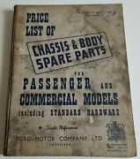 Ford 1949 Chassis Body Spare Parts Price List Passenger And Commercial And Hardware