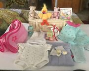 American Girl Bitty Baby Suitcase, Ducky, Piggy, Bear, Clothes, Book, Misc Lot