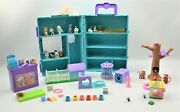 1992 Kenner Littlest Pet Shop Playset Case Hamster Cage Monkey And Tree And Pets
