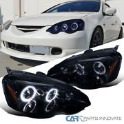 Glossy Black For 02-04 Acura Rsx Dc5 Smoke Lens Halo Projector Headlights Lamps