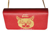 Auth Garden Gold Red Leather Cat Handbag Florence Gift New + Bag + Box