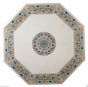 White Marble Dining Table Top Fine Multi Stone Floral Inlay Art Home Decor H2185