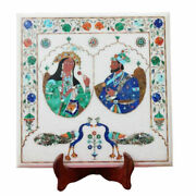 White Marble Square Coffee Table Top King And Queen Portrait Inlay Handmade Decors