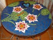 Black Round Marble Dining Table Top Mosaic Floral Inlay Art Handmade Home Decors