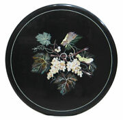 Black Marble Coffee Table Top Marquetry Grapes Leaf Handmade Inlay Decors H2365