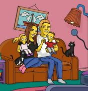 Your Family Portrait Personalised Simpsons Sofa Cartoon Drawing + A4 Frame