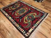 Antique 1960s Red Traditional 4x6 Ft Oushak Turkish Hand-woven Oriental Rug