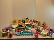 Vintage Fisher Price Loving Family Dollhouse Furniture Lot Of 35