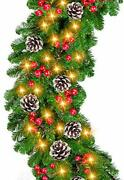 9 Foot By 10 Inch Christmas Garland -100 Led Lights Battery Operated Lighted