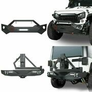 Texture Front+rear Bumper Combo W /tire Carrier For Jeep Wrangler 2007-2018 Jk