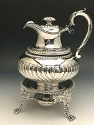 Beautiful Antique Sterling Silver Tea Kettle On Stand London England Circa 1815