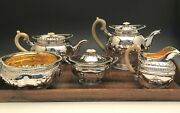 Beautiful Antique Russian Silver 5 Piece Coffee And Tea Set 84 Silver