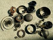 Large Lot Of Vintage/ Antique Clock Springs Gears And Other Parts - See Photos