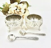 S. Kirk And Son Sterling Silver Footed Open Salt Cellars Spoons Baltimore Rose Set