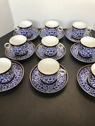 Royal Crown Derby Lily Set Of 9 Cups And 9 Saucers