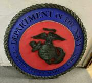 Huge Department Of The Navy Us Marine Corps Wall/podium/window Sign Plaque 41