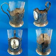 1969 Rare Vintage Russian Soviet Ussr Silver Plate And Glass Tea Cup Holder Old