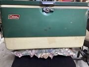 Vintage Green Coleman Cooler With Metal Handles And Dual Bottle Openers