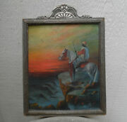 Antique Painting Of Iberian Moor Mounted On Arabian Horse Signed And Dated 1934