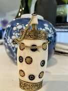 Antique Fine Chinese Tibetan Hand-tooled Silver And Bone Snuff Opium Flask Bottle