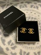 Auth Vintage Cc Logo Turnlock Clip On Earrings Gold 96p Used From Japan