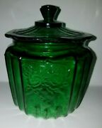 Vintage 1970and039s Anchor Hocking Green Glass Biscuit Jar Mayfair Open Rose Rp