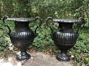 Rare Pair Of Tall 28 1/2 Heavy European Antique Cast Iron Planters With Arms
