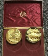 Wittnauer Precious Metals Guild Bald Eagle And Bison Sterling Silver 24kt Gold Plt