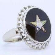 14k Solid White Gold Oval Black Onyx Order Of The Eastern Star Signet Ring Sz 5