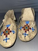 Beaded Native American Child's Moccasins Shoes Northern Tribes