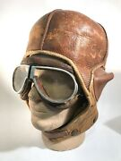 Rare Ww1 Us Army Air Service Spalding Hard Leather Flying Pilot Helmet W/goggles