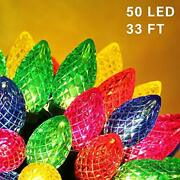 C9 Christmas String Lights, 50 Led 33ft Outdoor Fairy Lights With 29v