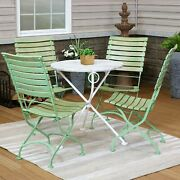 Sunnydaze Cafe Couleur 5pc Shabby Chic Wood Folding Table And Chair Set - Green