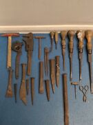 Job Lot Of Vintage Variety Chisels And Screwdrivers/hammer 23 Pieces In Total