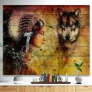 Designart And039woman With Wolfand039 Portrait Print On Natural Pine Small