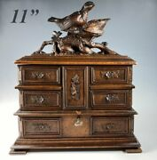 Antique Hc Swiss Black Forest Animalier Jewelry Chest, 3 Tiers Of Drawers, Key